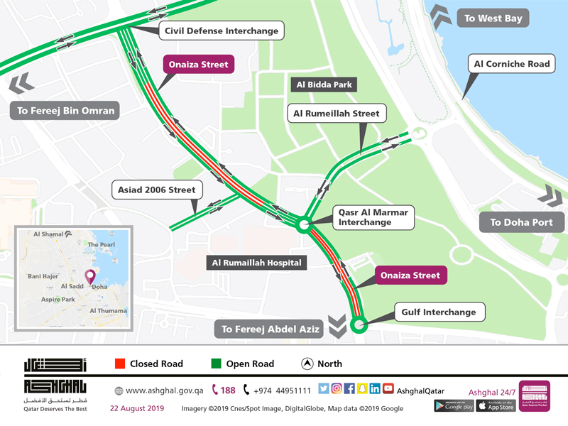 One lane closure in each direction on Part of Onaiza Street